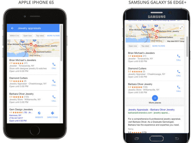 Google Local Business view in Mobile