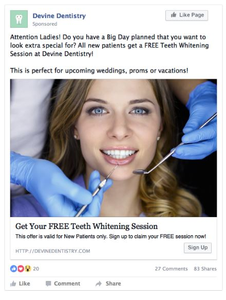 Facebook ad sample for Dental business